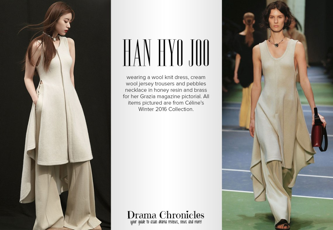 Han Hyo Joo photo c/o Grazia magazine   Model photo c/o Vogue from Celine's Fall 2016 Collection