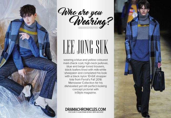 Lee Jong Suk photo c/o InStyle | Model photo c/o Vogue from Fendi's Fall 2016 Menswear Collection