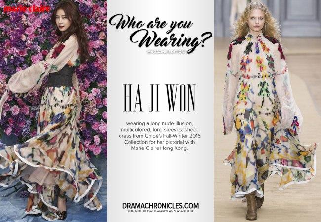 Ha Ji Won photo c/o Marie Claire Hong Kong | Model photo c/o Vogue from Chloé's Fall-Winter 2016 Collection