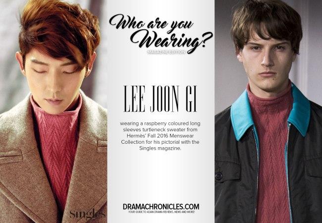 Lee Joon Gi photo c/o Singles | Model photo c/o Vogue from Hermès' Fall 2016 Menswear Collection
