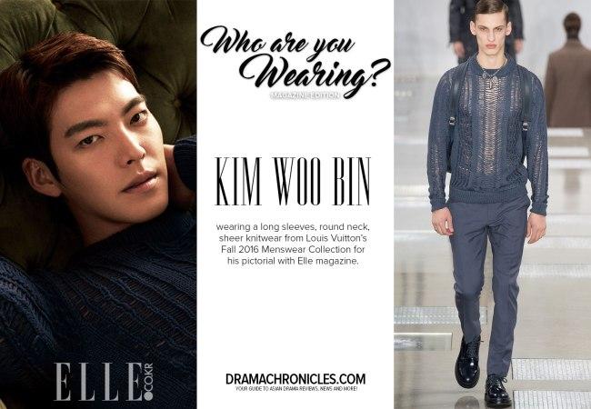 Kim Woo Bin photo c/o Elle magazine | Model photo c/o Vogue from Louis Vuitton's Fall 2016 Menswear Collection