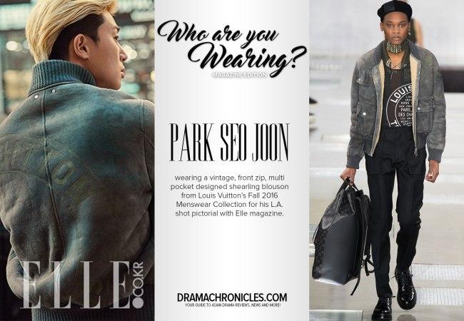 Park Seo Joon photo c/o Elle magazine | Model photo c/o Vogue from Louis Vuitton's Fall 2016 Menswear Collection