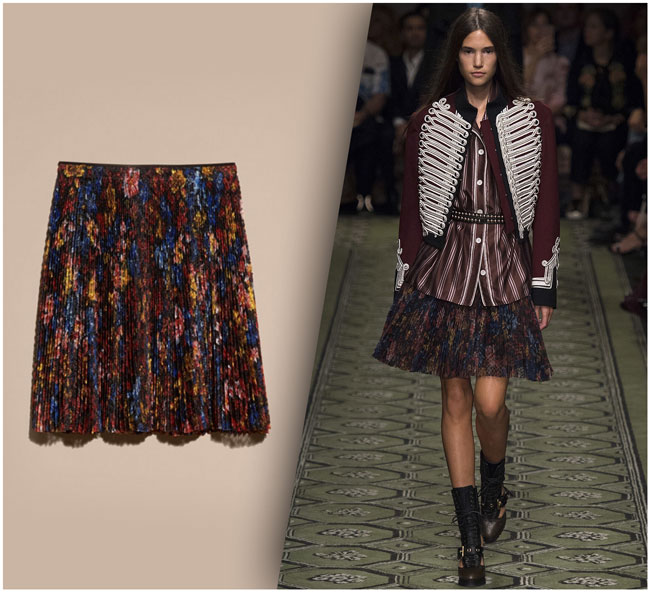 Burberry Floral Printed Pleated Skirt