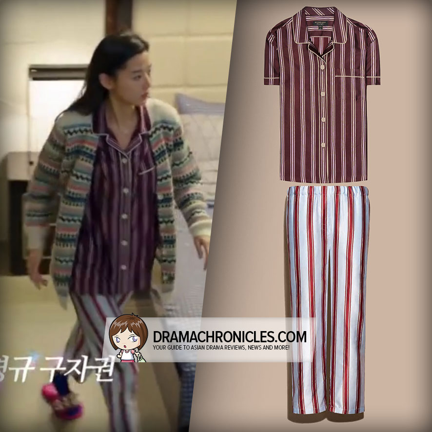 Jun Ji Hyun wearing Burberry Striped Shirt and Pants.