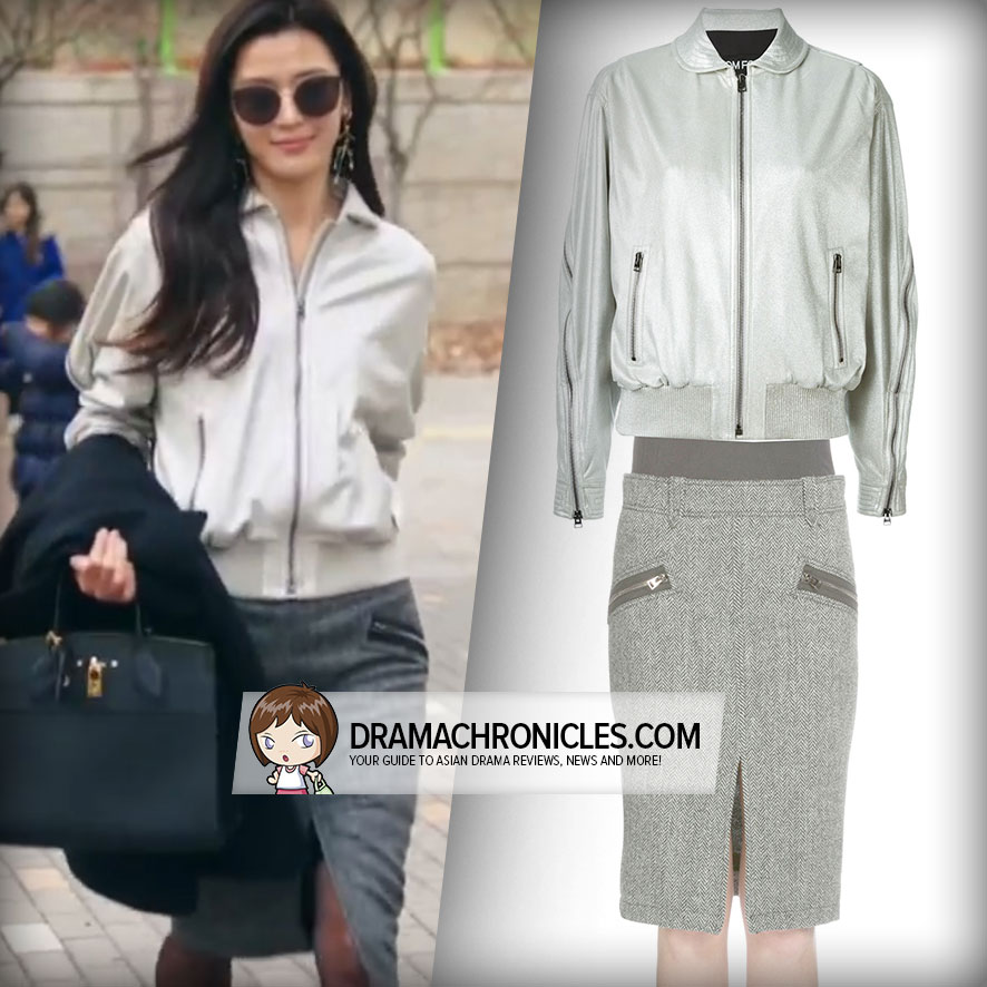 Jun Ji Hyun wearing Tom Ford's Jacket and Skirt.
