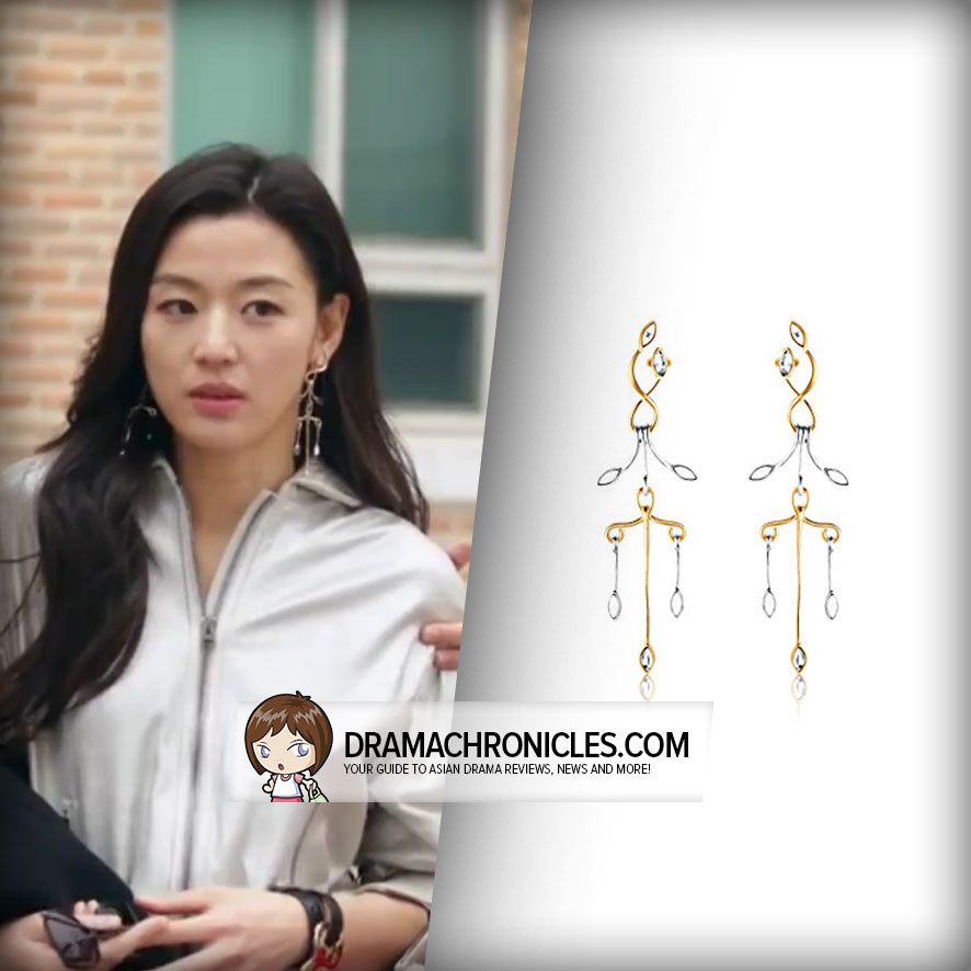 Jun Ji Hyun wearing Louis Vuitton's Wish Bone Earrings.