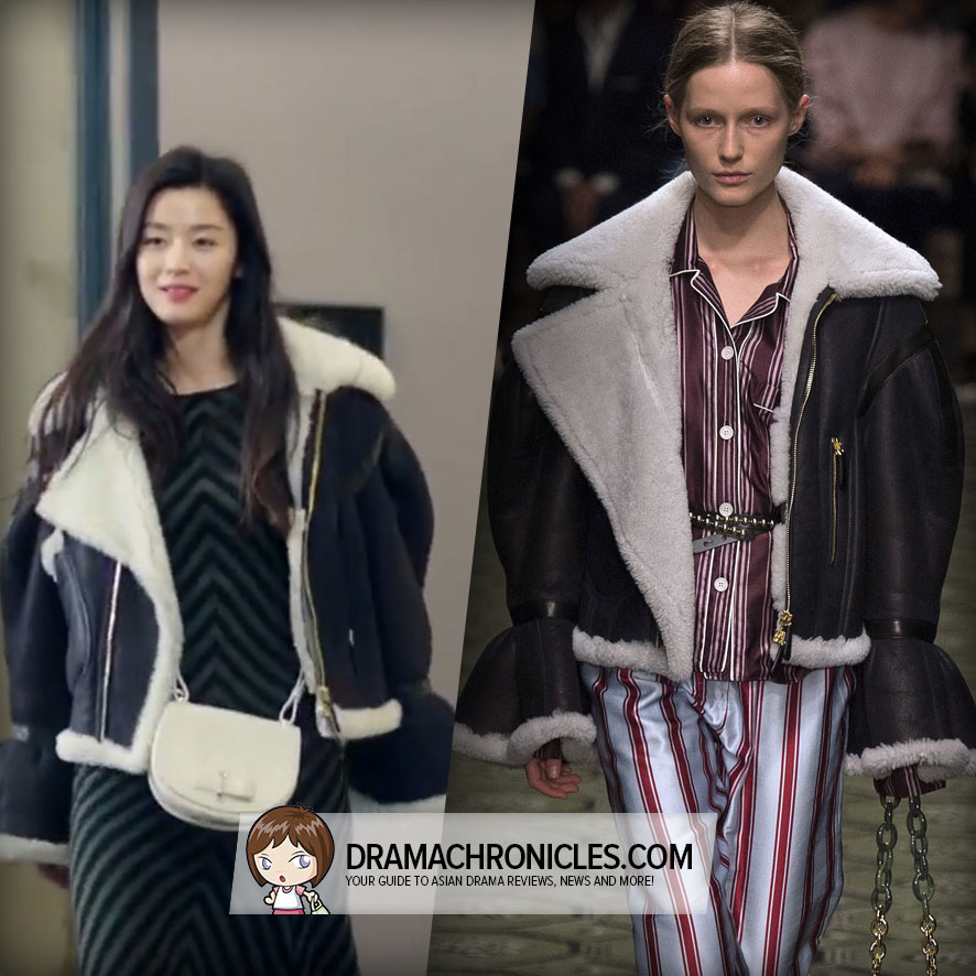 Jun Ji Hyun wearing a Jacket from Burberry's Fall 2016 Collection.