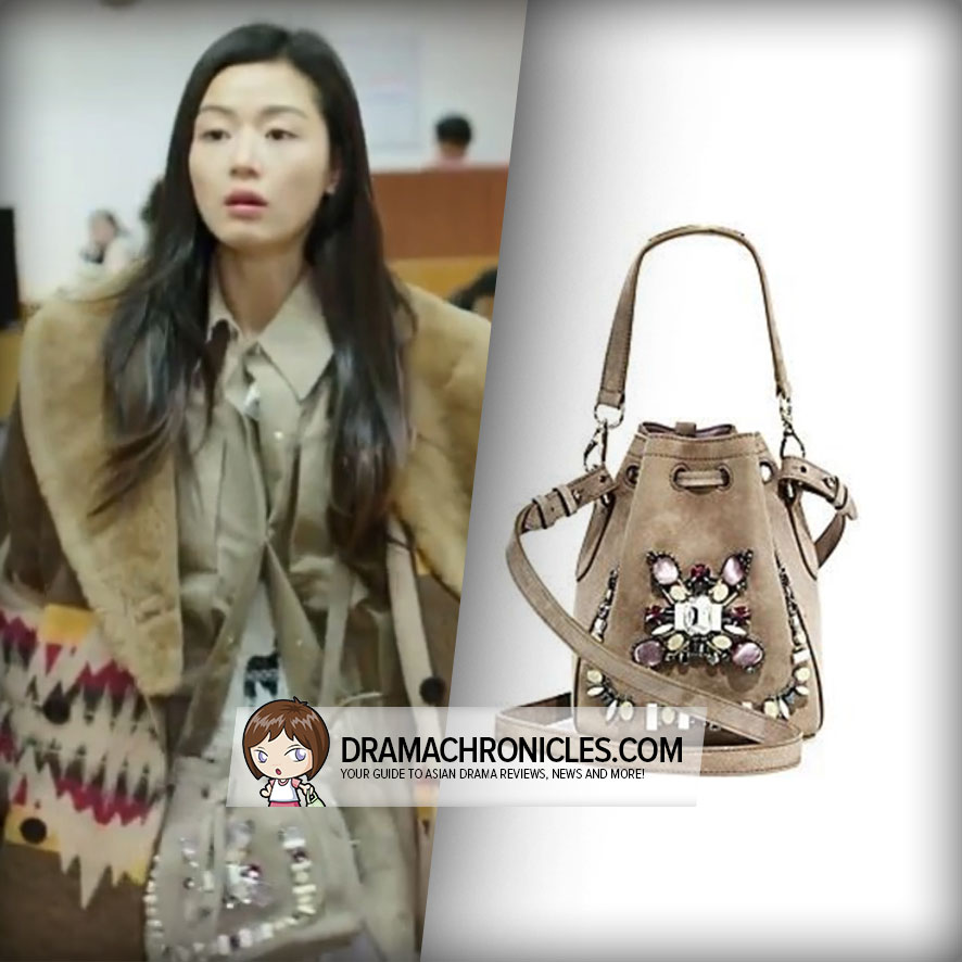 Jun Ji Hyun wearing a Ralph Lauren Bucket Bag.