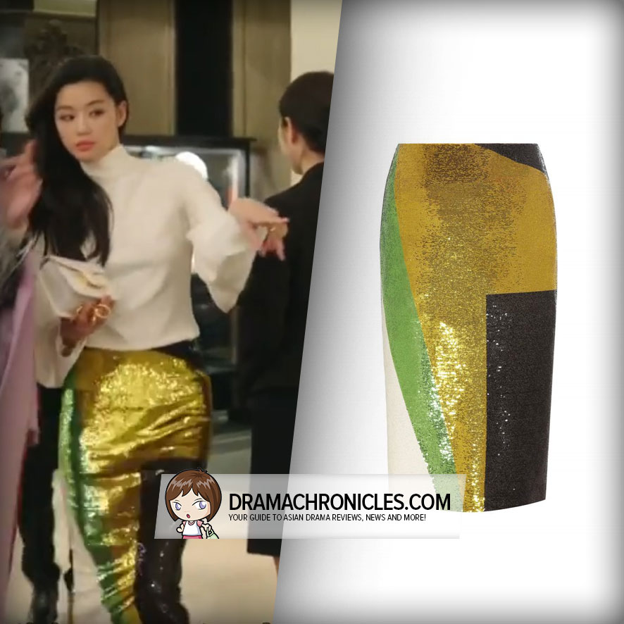 Jun Ji Hyun wearing a Tom Ford Skirt.