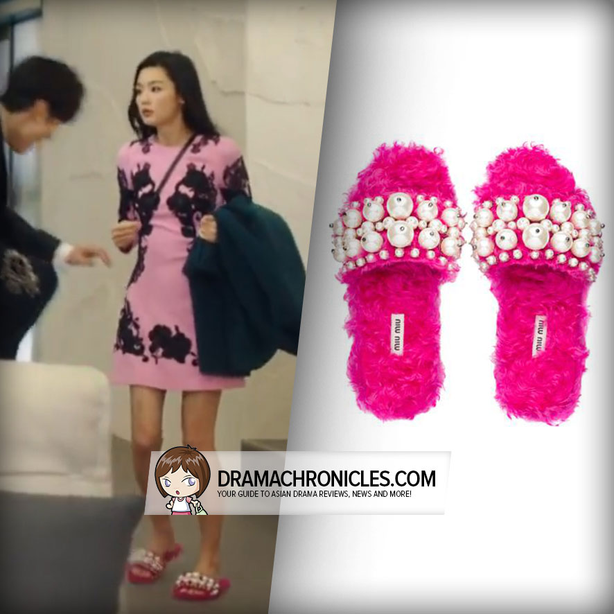 Jun Ji Hyun wearing Miu Miu slippers.