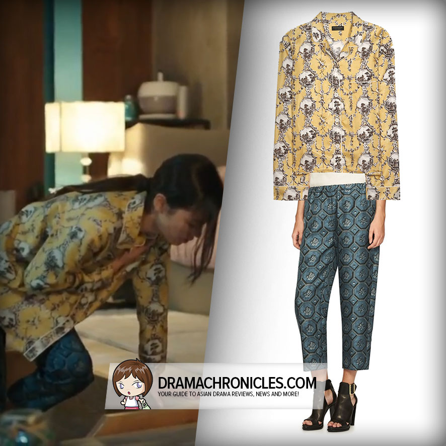 Jun Ji Hyun wearing Burberry Pyjama Shirt and Pyjama Pants.