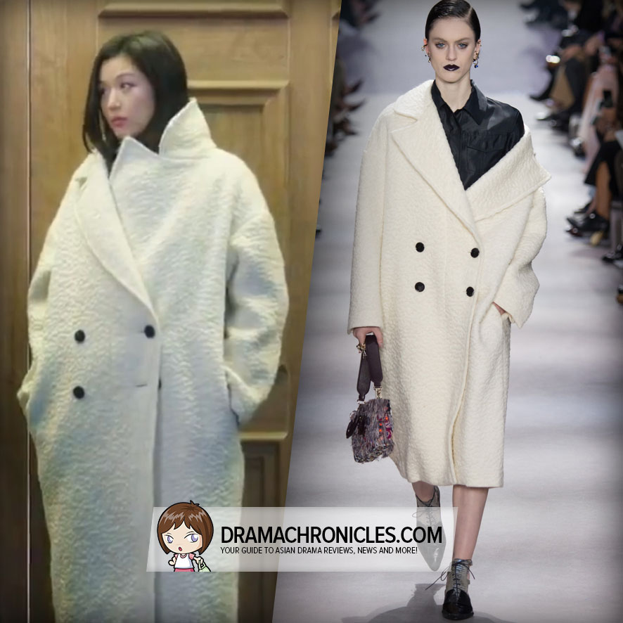 Jun Ji Hyun wearing a coat from Christian Dior's Fall 2016 Collection.