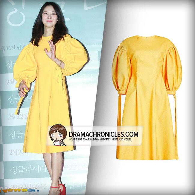 Gong Hyo Jin wearing Rejina Pyo dress.